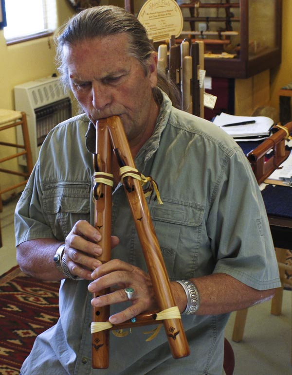 Odell Borg, owner of High Spirits Flutes, says anyone can learn to play the Native American flute. (Photo by Sandra Westdahl/ASNS)