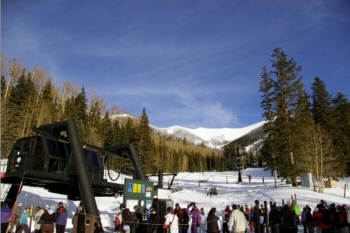 Arizona Snowbowl skiers get ready for a day on the slope in Flagstaff