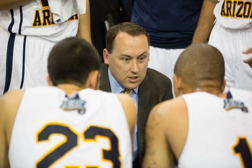 NAU head coach Jack Murphy instructs his players during a game in 2012, his first year with the program. Photo courtesy of NAU Athletics