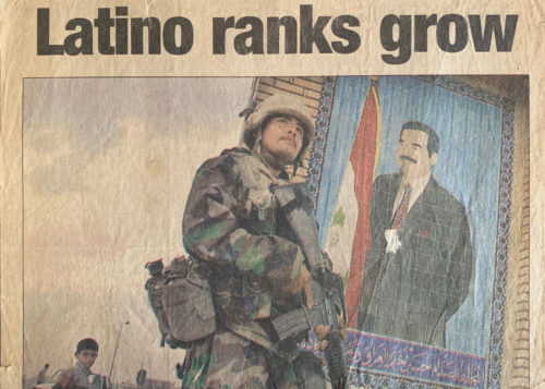 Newspaper clip of Beto Ureña during the Iraq War that his mom proudly keeps among her prized possessions. Original photograph taken by the Associated Press. (Photo by Alberto Quiroz)