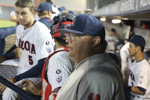 Coach Wanaka, right, looks on as the Arizona Wildcats baseball team competes against Team USA. (Photo by Justin Wylie).