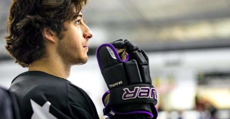 Andrew DeCarlo, 19, standing for the National Anthem before starting on the Lone Star Brahmas first line during a regular-season game, at the NYTEX Center in North Richland Hills, Texas. Photo Courtesy of Rebekah Bing.
