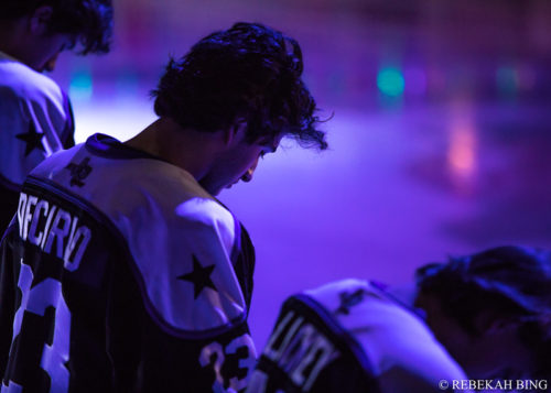 Andrew DeCarlo at the American Bank Center in Corpus Christi, Texas, before a game against the Corpus Christi IceRays. (Photo courtesy of Rebekah Bing).