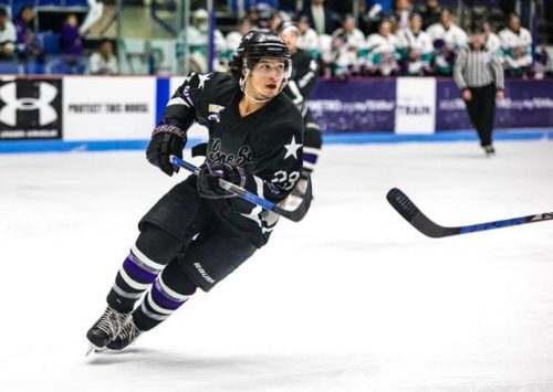 Andrew DeCarlo skating during a Lone Star Brahmas game against the Shreveport Mudbugs at the NYTEX Center in North Richland Hills, Texas. (Photo courtesy of Rebekah Bing).