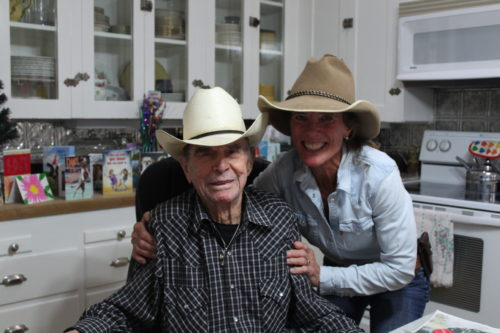Peterson with longtime rancher and friend Sonny McCuistion. She tends his ranch as well as her own. (Photo by Briannon Wilfong/El Inde).
