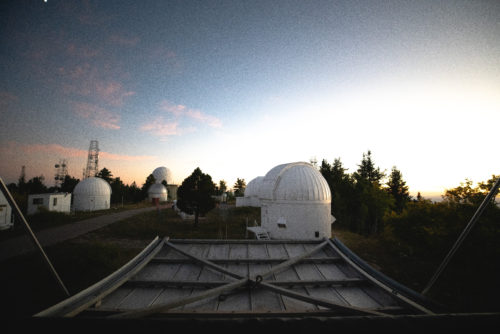 The view of Mount Lemmon's summit and most of the other telescopes on the mountain as viewed from the Sky Survey's 60-inch telescope.