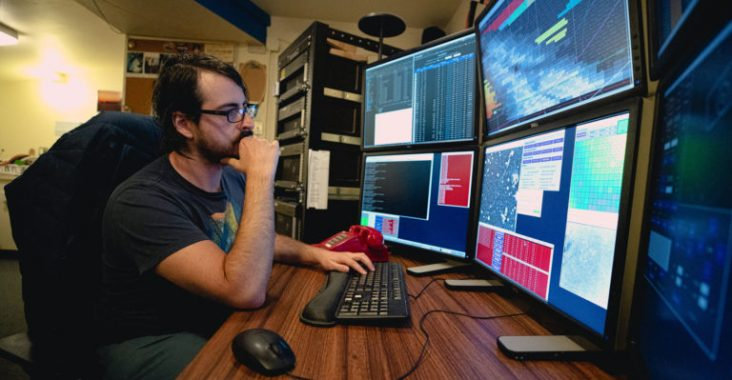 Once the night is underway, Fuls, and all the astronomers at the Sky Survey like him, are behind the six screen setup analyzing the thousands of photos taken every night.