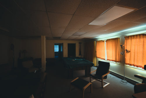 Mount Lemmon's summit used to be home to a United States Air Force radar station. Pictured here is the common area of the barracks used by the air force soldiers.