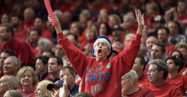 Phyllis Goodman cheers on the Wildcats at a game in 2017.