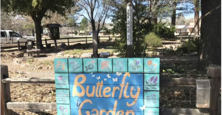 The butterfly garden in Patagonia, which hosts artwork and mosaics dedicated to butterflies. (Photo by Alexandra Pere/El Inde).