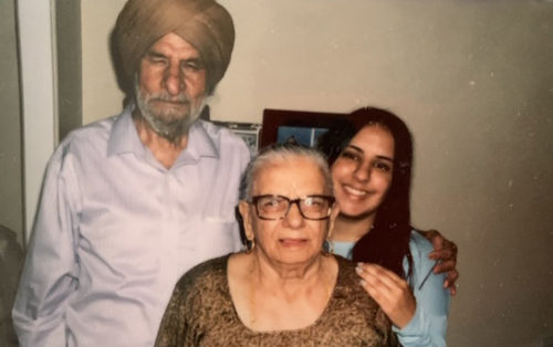 "Suman Doasanjh with her Punjabi immigrant grandparents; ""Bibi"" and ""Papa"" at their Pheonix home, 2012. Her grandfather always wears a turban as part of his culture and religion and her grandmother a traditional dress."