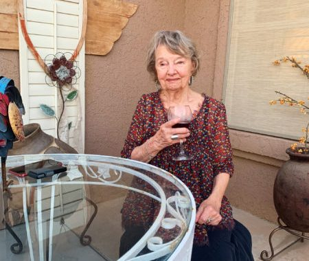 My grandma, Gail Stoor, outside her home in Gold Canyon, Arizona, on April 20, 2020. (Photo by Dani Cropper).