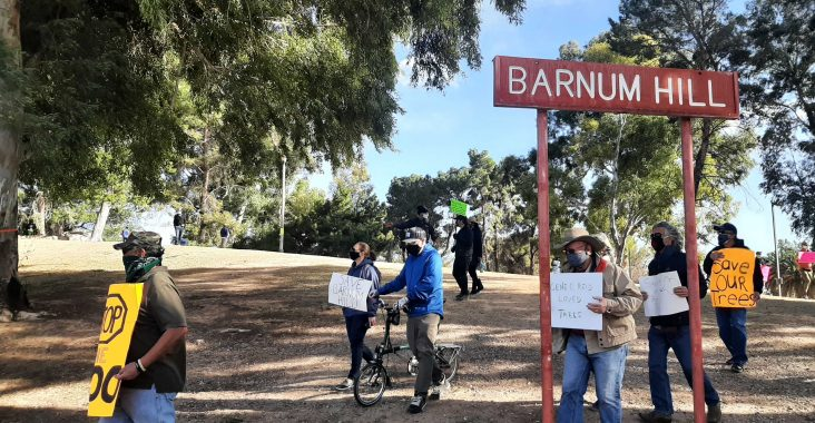 Image: Protesters at Barnum Hill in Reid Park